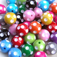 Wholesale 100pcs mm Mix Color Round Acrylic Polka Dot Beads For Chunky Necklace Kids Jewelry Finding Making