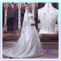 A-Line islamic wedding dress - Hot Sale Islamic Wedding Dress High Quality Embroidery White Satin Muslim Wedding Gowns As2129