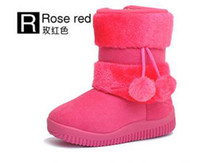 Winter Snow Boots Ankle Free shipping children new children double ball boots boots 5 PCS in the little princess
