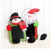 Wholesale 2014 New Year Decoration Doll Gifts Christmas Toys Doll Ornament Supplies Santa Claus Snowman With Blackboard x31