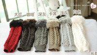 Wholesale Gloves Hemp yarn imitation rabbit fur half finger pattern hand cuff arm sleeve women gloves YXC159H