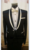 Actual Images Wool Blend Summer 2014 New Custom tails (Color optional) with Gold Line Groom Tuxedos Suits For Wedding Evening Formal Men Suit