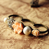 Wholesale 2013 New Fashion Fashion vintage e1047 jewellery rose lab created pearl flower ring yarn finger ring wholesale