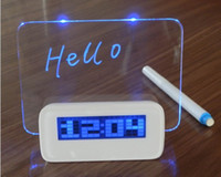 Wholesale New Arrival LED Fluorescent Message Board Digital Alarm Clock Calendar With Port USB Hub and Highlighter