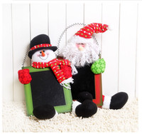 Wholesale 2014 New Year Decoration Doll Gifts Christmas Toys Doll Ornament Supplies Santa Claus Snowman With Blackboard x31wholesale