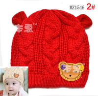 Wholesale snapback hatsMa Wen Teddy Bear head infant knitted hat colors _MZ1546