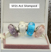 Wholesale 4pcs S925 Sterling Silver Screw Core Blossom Murano Glass Beads Charm Jewelry Set Fit European Style Jewelry Bracelet EN037