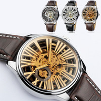 Men's archer watch - Original Eyki archer Men s skeleton self action mechanical Automation watch with box father s gift leather band freeshipping