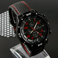 Men's Round Wristwatches New arrival Mens BLACK BIG DIAL GRAND TOURING GT sports quartz watch with Japan movt freeshipping