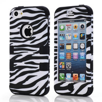 achat en gros de zèbre housses hybride iphone-6 couleurs Zebra Stripe Robot Shockproof Back Case Covers pour iPhone 5C iphone5C Housse imperméable Hybrid PC + Silicone 3 en 1