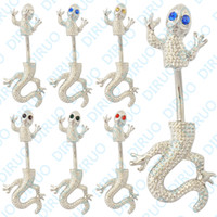 Wholesale Colors Mixed Gecko Navel Ring Belly Ring Body Jewelry Body Piercing Jewelry
