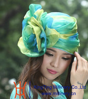 Wholesale New arrival women organza hats ruffled winter hat organza fabric made organza flower green bright color chruch organza silk hat bucket