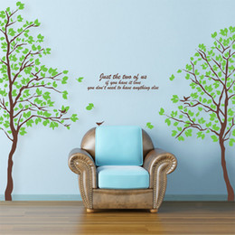 Wholesale Large Green Twins Tree Large Size Lover Trees in1 Wall Sticker Mural Removable Wall Paper TV Background Wall Decor