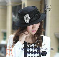 Wholesale Winter hat women wool felt hat women hat wool felt fashion hat elegant bright fabric hat handmade two colors available