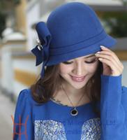 Wholesale Fashion women winter hat women wool felt hat bucket hat millinery female hat handmade bow two colors available