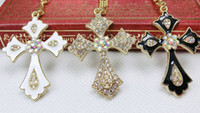 Wholesale Fashion cross pendants necklaces gold color collarbone chain necklace diamond rhinestone cross pendant Vintage charm jewelry