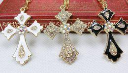 Fashion cross pendants necklaces gold color collarbone chain necklace diamond rhinestone cross pendant Vintage charm jewelry