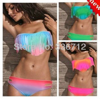 Wholesale New Arrival Sexy Women Bikini Boho Padded Girl s Swimwear Gradient Color Hot Fringe Tassels Swimsuit Beachwear Bathing Suit