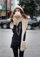 Wholesale 2013 Korean women new autumn winter scarf lovely double thick wool scarves hats gloves three one WJ3055