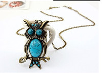 Wholesale Newest Vintage turquoise Gem Owl Pendant Necklace Bronze Chain Fashion Women Cartoon owls Sweater Necklaces Charm Jewelry Christmas Gift