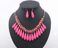 Wholesale Western Style Fashion Women Jewelry Set Water drop Necklace Earrings Sets With Rhinestone L0107