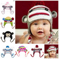 Wholesale 20pcs Colors Crochet hats monkey Newborn Handmade Knitting children Baby cap monkey hat