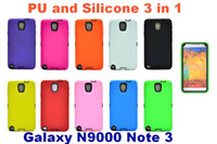 For Samsung Leather  note 3 leather case PU and Silicone 3 in 1 hybrid Hard Back Case for for Samsung Galaxy N9000 Note 3 Note3 MOQ 50pcs