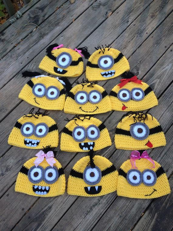 Free Crochet Pattern For Sock Monkey Mittens : 2017 Minion Hat Crochet Baby Cotton Hat Handmade Sock ...