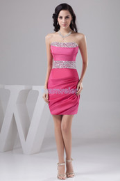 Wholesale new design knee Length formal gown elie saab dresses sexy brides maid dress beading red short Cocktail Dress