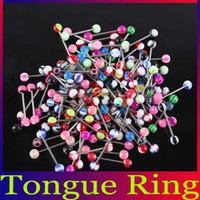 Tongue Rings Acrylic, Resin, Lucite Valentine's Day 14G 316L Cheap Steel Barbell Tongue Lip Rings Multicolors Acrylic Ball Piercing Body Jewelry 100Pcs lot Free Shipping BJ064