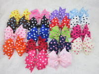 Wholesale polka dot ribbon Baby Boutique hair bows WITH CLIP kids hair clips Girls hair accessories