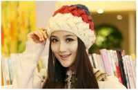 Wholesale 2014 New Arrival Korean Style Fashion and Warm Winter Women Beanies Knitting Hats Women Lady Girl Wool Hats Gorro colors per