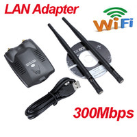 Wholesale High Power USB Network Card Wireless Adapter N M dBi Two Antenna wifi LAN Adapter Retail Box