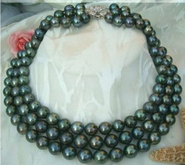 New Fine Jewelry perle CHARME 9-10mm TAHITIAN AAAA NOIR BLEU PERLES COLLIER 18INCH 19