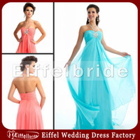 Wholesale Dresses Evening New Model Halter Empire A Line Sweep Train Turquoise Blush Pink Chiffon Front Slit