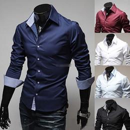 Wholesale New Mens Luxury Casual Stylish Slim Fit Dress Shirts Size US XS L Colors