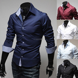 Wholesale New Mens Luxury Casual Stylish Slim Fit Dress Shirts Size US XS L Colors