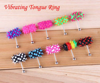 Tongue Rings Stainless Steel Halloween Koosh Ball Vibrating Tongue Barbell Rings 316LSteel Body Piercing Jewelry +Free Four Batteries BJ001