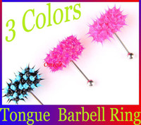 Tongue Rings Stainless Steel Halloween Silicone Koosh Ball Vibrating Tongue Rings 316L Steel Barbell Piercing Body Jewelry+Free Four Batteries BJ051