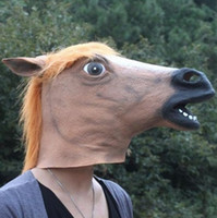 Wholesale Horse Head Mask Realistic Creepy Halloween Costume Novelty Latex Rubber Animal Horse Halloween masquerade masks drop shipping gift