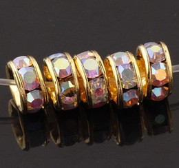 Wholesale Free shipping 7MM drill gold-tone gold-plated AB Rondelle Charm Beads fashione jewelry