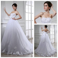 A-Line Model Pictures Sweetheart Real Model Ball Gown White Organza Lace Handmade Flowers Bridal Wedding Gowns Dress