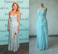 Wholesale Kate Hudson In Reem Acra Ruched Sheath Sweetheart Sweep Train Mint Green Chiffon Celebrity Evening Dresses Get Free Nu Bra