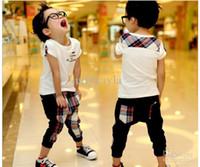 Boy Summer Short 2013 Summer England Style Pure Cotton Children Clothes Kids Set White t Shirt+cell Haroun Pants 2pcs Boys Suit 5size 5set lot C0377