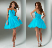 Wholesale Simple Collection Cocktail Light Blue Strapless Pleats Bow Tulle A Line Short Prom Dress