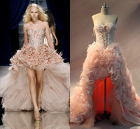 Real Photos Sweetheart Organza 2014 Zuhair Murad Ostrich Feathers Beaded A-Line Sweetheart Neckline Bubble Blush Organza Lace up Hi Lo Gala Evening Dresses Get 1 Free Bra