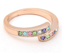 Fashion Brand 18K Rose Gold Ring Women's Jewelry Crystal Ring make with Swarovski Elements (5 colors) 4466