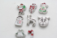 Wholesale 160pc Santa clause Christmas deer elf candy bell snowman floating charms glass living locket not included each