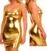 Wholesale Elastic Sexy Bodysuit Zentai Suits Shiny Metallic Gold Black Catsuit Adult Size Costumes