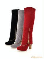 Knee Boots Women Winter Wholesale - Winter New Women's Shoes Temperament Matte Rough With High-Heeled Knight Boots Knee Boots Many Color